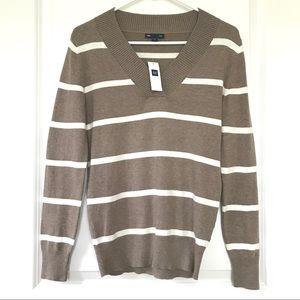 NWT Gap V Neck Stripe Sweater